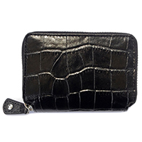 Unisex Genuine Crocodile Embossed Zipped Card Case