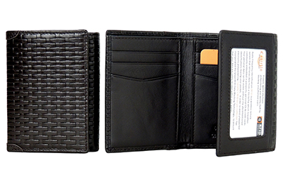 Castello RFID Protected Braid Pattern Trifold Leather Wallet