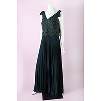 Lace-Top Pleated Floor Length Dress