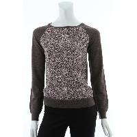 Ladies 100% Merino Wool Knitted Pullover at Front Mixed 100% Silk Habotai at Back and Sleeves