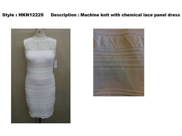 Machine Knit with Chemical Lace Panel Dress,HKN12225 - Manful Beaded