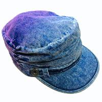 Stone Washed Denim Military Cap with Dip-Dye