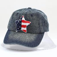 Stone Washed Denim Cap with Terry Cloth US Flag
