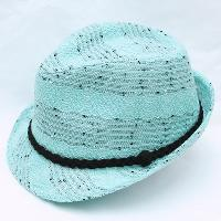Marled Knit Fedora with Black Suede Band