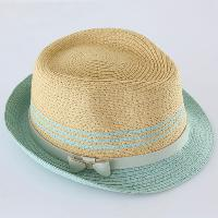 Straw Hat with Metal Bow Ornament