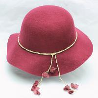 Wool Felt Floppy Hat with Hanging Flower Pedals Deco