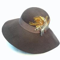 Wool Felt Floppy Hat with Feather Patch Deco