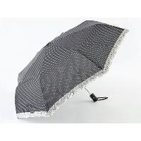 Polka Dots Printed Compact Umbrella with Lace Trim